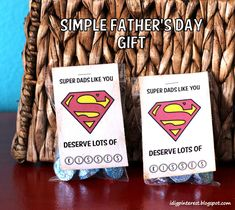 Super Dad Simple Father's Day Gift and Free Printable.  Tell Dad he's your hero with this fun and simple chocolate gift!