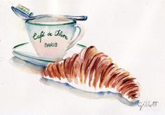 Cafe de Flore petit dejeuner original watercolor: by ParisBreakfast Food Art Painting, Breakfast Photo, Perfect Breakfast, Cocoa Tea, Coffee Illustration, Sketch Inspiration, Food Drawing, Coffee Cafe, Sweet Cakes