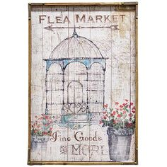 Flea Market Sign features a wooden frame with metal accents with a vintage, fabric flea market sign inside. It is 24 inches high by 16 inches wide with a 1½ inches depth.