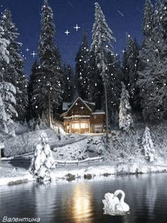 Winter Cottage at Night Christmas Scenery, Christmas Art, Winter Christmas, Vintage Christmas, Holiday, Beautiful Winter Scenes, Beautiful Christmas, Winter Pictures, Christmas Pictures