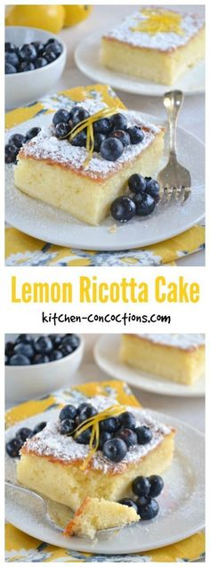Ricotta Cake with Blueberries - Looking for a light and lemony summer recipe? This Lemon Ricotta Cake with blueberries is an easy version of a classic Italian dessert! An elegant and comforting recipe perfect for dinner parties. Dessert Cannoli, Dessert Oreo, Coconut Dessert, Appetizer Dessert, Appetizer Recipes, Summer Dessert Recipes, Easy Desserts, Delicious Desserts, Yummy Food