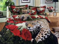 günstig 3D Bettwäsche Leopard billig gut preiswert King Size Seide Baumwolle Bed Set 6 Teilig