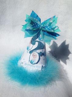 Sparkling Elsa Frozen Birthday Party Hat in Aqua Turquoise and White