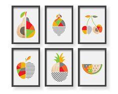 Items similar to Geometric Fruit Kitchen Poster, Modern Geometric Fruit art, Dining room wall art, Modern Home Decor on Etsy Modern Kitchen Wall Decor, Kitchen Artwork, Kitchen Posters, Kitchen Prints, Kitchen Walls, Design Kitchen, Geometric Poster, Geometric Decor, Wonderful Day
