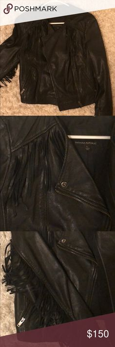 Banana Republic Fringe Leather Jacket Amazing condition! Worn twice. Free of any stains or orders. Purchased from in store at full price. Real leather. Banana Republic Jackets & Coats Utility Jackets
