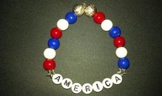 Bead stretch bracelet Patriotic Red White Blue by DoubleDzBeadz, $2.00