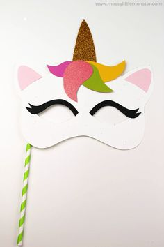 Easy Unicorn Mask Craft (with template) Craft Activities For Kids, Preschool Crafts, Fun Crafts, Activity Ideas, Craft Ideas, Unicorn Mask, Unicorn Headband, Diy For Kids, Crafts For Kids