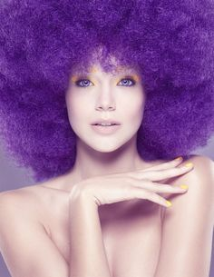 Photography by David Benoliel make up purple afro hair - Long Lost Travels Purple Love, Purple Lilac, All Things Purple, Purple Rain, Shades Of Purple, Magenta, Deep Purple, Elle Mexico, Color Violeta