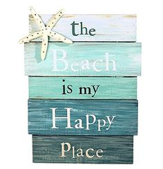 """The Beach is My Happy Place"" Aquamarine Plankboard with Starfish Decorative Sign - 12-in x 9-in"