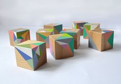 Wooden blocks TRIANGLES /Pastel wooden blocks / Baby by Lapalai