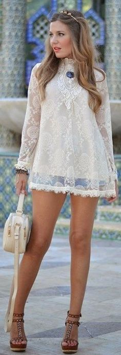 Crochet Lace Little Dress with Ladies Shoes | Summ...
