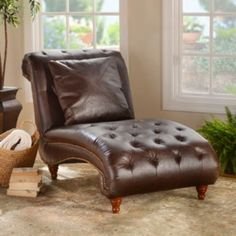 Walnut Leather Chaise Lounger