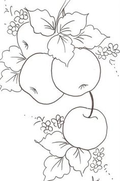 Passo a passo de pintura em tecido e tela. Fruit Coloring Pages, Colouring Pages, Coloring Books, Hand Embroidery Patterns, Embroidery Stitches, Embroidery Designs, Tole Painting, Fabric Painting, Fabric Art