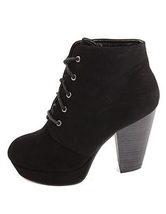 Chunky Heel Lace-Up Platform Booties: Charlotte Russe