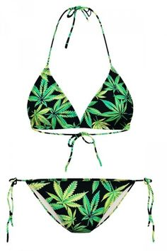 My Wish Green Maple Leaf Printed String Bikini Top & Swimwear Bottom<br/><div class='zoom-vendor-name'>By <a href=http://www.ustrendy.com/sellwood-victoria>Sellwood Victoria</a></div>