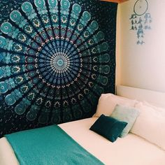 Blue Hippie Mandala Tapestry, Bohemian Tapestry, Bedroom summer throw blanket, mandala bedcover
