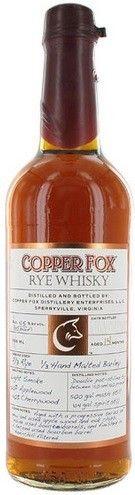 Wasmund's Copper Fox Rye Whisky 90 Proof 750ml