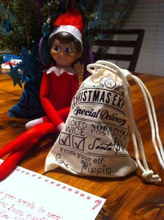 These are perfect for your elf. They measure at 5X5, perfect bag for the elf to bring a little note, Trenket, or toy to your child. Maybe theyve been naughty and need a reminder. These will come without a name so you can write in your best elf handwriting the name of your elf. :) The Elf, Elf On The Shelf, Christmas Elf, Xmas, Elf Games, Shelf Inspiration, Jingle All The Way, Elves, Winter Wonderland