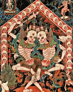 Lord and Lady of the Cemetery (Citipati), late century, Nechung Chapel. Tibet Photograph by Thomas Laird from Tibetan Murals (Taschen) Art And Illustration, Illustrations, Botanical Illustration, Tibetan Art, Tibetan Buddhism, Tibetan Tattoo, Art Asiatique, Susanoo, Art Japonais