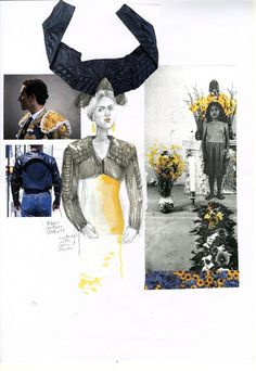 "Fashion sketchbook work, fashion drawings and design board ideas; the creative process // Evelina Romano, ""Skin Flowers"""