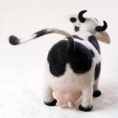 So cute. Needle felted cow