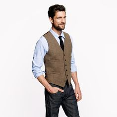 Cheap vest outerwear, Buy Quality vest outwear directly from China vest jackets for men Suppliers: 			2016 Summer Wedding Brown Vintage Tweed vests custom made Groom vest mens slim fit tailor made wedding vests for men