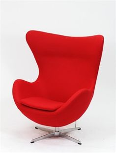 I just got this red Arne Jacobsen Egg chair to go with my modern decor & I love it how it pops in the room. Small Chair For Bedroom, Bedroom Chair, Egg Chair, Sofa Chair, Chair Cushions, Arne Jacobsen Chair, Interiors, Artists
