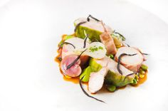 Photo of: A tasting of rabbit with new season onions, fondant potato, pea purée, tarragon and mint sauce, Pied à Terre, Central London restaurant