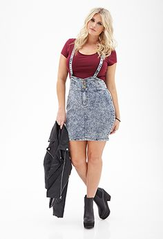 Acid Wash Overall Dress | FOREVER21 PLUS - 2000119860