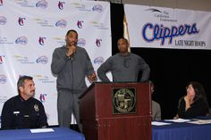 Los Angeles Clippers Caron Butler & Kenyon Martin speak at Late Night Hoops
