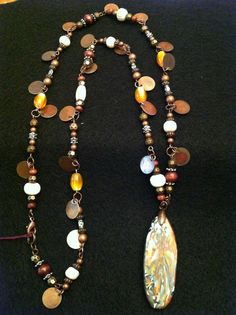 Manushu necklace. rustic look with large beautiful pendant! SOLD