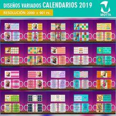 Diseños-plantillas-templates-tazas-mug-calendarios-2019-min Adobe Photoshop, Sublimation Mugs, Mug Designs, Stamp, Templates, Editable, Etsy, Art, Mugs