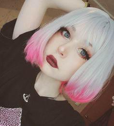 """Anzujaamu - """"Yesterday's look 😈"""" Pretty Hairstyles, Wig Hairstyles, Gothic Hairstyles, Hair Inspo, Hair Inspiration, Pelo Multicolor, Aesthetic Hair, Aesthetic People, Coloured Hair"""