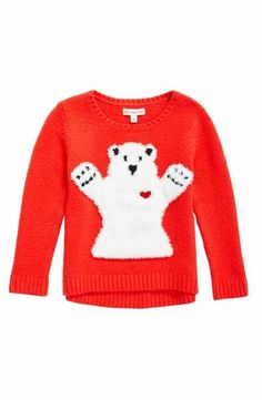 Tucker + Tate Fuzzy Bear Appliqué Sweater (Toddler Girls, Little Girls & Big Girls)