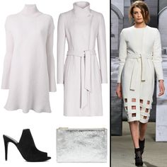 #HowToWearIt: Robe Coats - Reiss coat, $525, reiss.com; McQ by Alexander McQueen knit dress, $403, farfetch.com; Theory heel, $325, theory.com; Whistles clutch, $58, whistles.com #InStyle