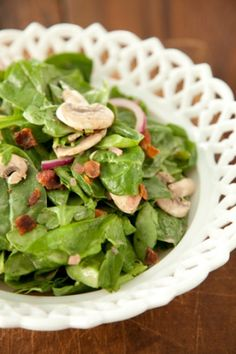 Spinach Salad with Warm Bacon Dressing~~simple