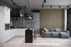 인더스트리얼 거실 by студия архитектуры и дизайна дарьи ельниковой 인더스트리얼 Appartement Design Studio, Studio Apartment Design, Studio Apartment Decorating, Small Living Room Design, Small Living Rooms, Living Room Kitchen, Living Room Designs, Modern House Design, Modern Interior Design