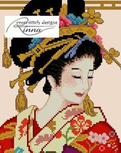 Geisha Admiring the Prints by CrossStitchRinna on Etsy, $20.00