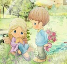 Precious Moments Cute picture of boy with bouquet behind his back. Girl sitting on bench. Precious Moments Quotes, Precious Moments Coloring Pages, Precious Moments Figurines, Cute Illustration, Watercolor Illustration, Cute Teddy Bears, Illustrations, My Precious, Digi Stamps