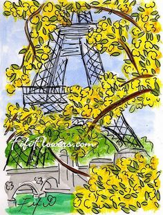 Yellow Blossom Eiffel by Fifi Flowers on Etsy