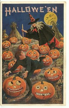 Rare 1908 Halloween Post Card Embossed Pumpkin Patch Witch Chasing Boy underMoon