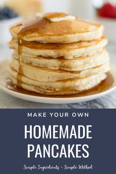 Pancake Recipe made with simple ingredients that takes only a few minutes time.  Load these perfect homemade pancakes up with fresh fruit or drown them in your favorite maple syrup. Yummy Pancake Recipe, Delicious Breakfast Recipes, Fun Easy Recipes, Vegetarian Breakfast, Cat Recipes, Easy To Make Breakfast, Sweet Breakfast, Breakfast Ideas, Waffle Recipes