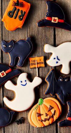 Recetas Halloween, Postres Halloween, Dessert Halloween, Halloween Buffet, Halloween Sugar Cookies, Fete Halloween, Halloween Photos, Halloween Cupcakes, Halloween Season