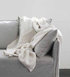 Fog Linen   Blanket   White Stripe
