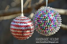 Love this! It's handmade holiday over at Funnelcloud! Love these sequin ornaments.