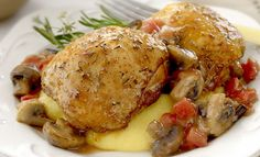 Chicken and Mushroom Melange - Of course, don't serve with mashed potatoes or polenta... mashed cauliflower might be great with this...
