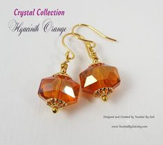 #Earrings #Jewelry #Handcrafted - #Czech Faceted Octagonal Crystal - #Hyacinth #Orange - #Gift for Her - For ladies who want jewelry that's as fabulous as they are, Touched By God's jewelry is a fresh alternative to generic, mass made pieces. Timeless and classic, these earrings are an all around everyday staple that will make an excellent gift idea for any of the wonderful women in your life! Visit my Etsy Shop at www.TouchedByGod.etsy.com!