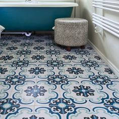 Toulon is an elaborate design dominated by a chalky blue colour palette. It is a bold pattern that combines elegance and sophistication to become a focal point to any room. 25 tiles per m²