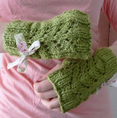 Green Garden Organic Fingerless Gloves with Bow by LaceyDaisyKnits, $25.50