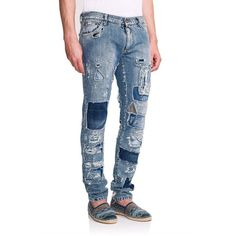 Dolce & Gabbana Destroyed Denim Jeans (82.550 RUB) ❤ liked on Polyvore featuring men's fashion, men's clothing, men's jeans, apparel & accessories, blue, dolce gabbana mens jeans, mens destroyed jeans, mens torn jeans, mens blue jeans and mens distressed jeans